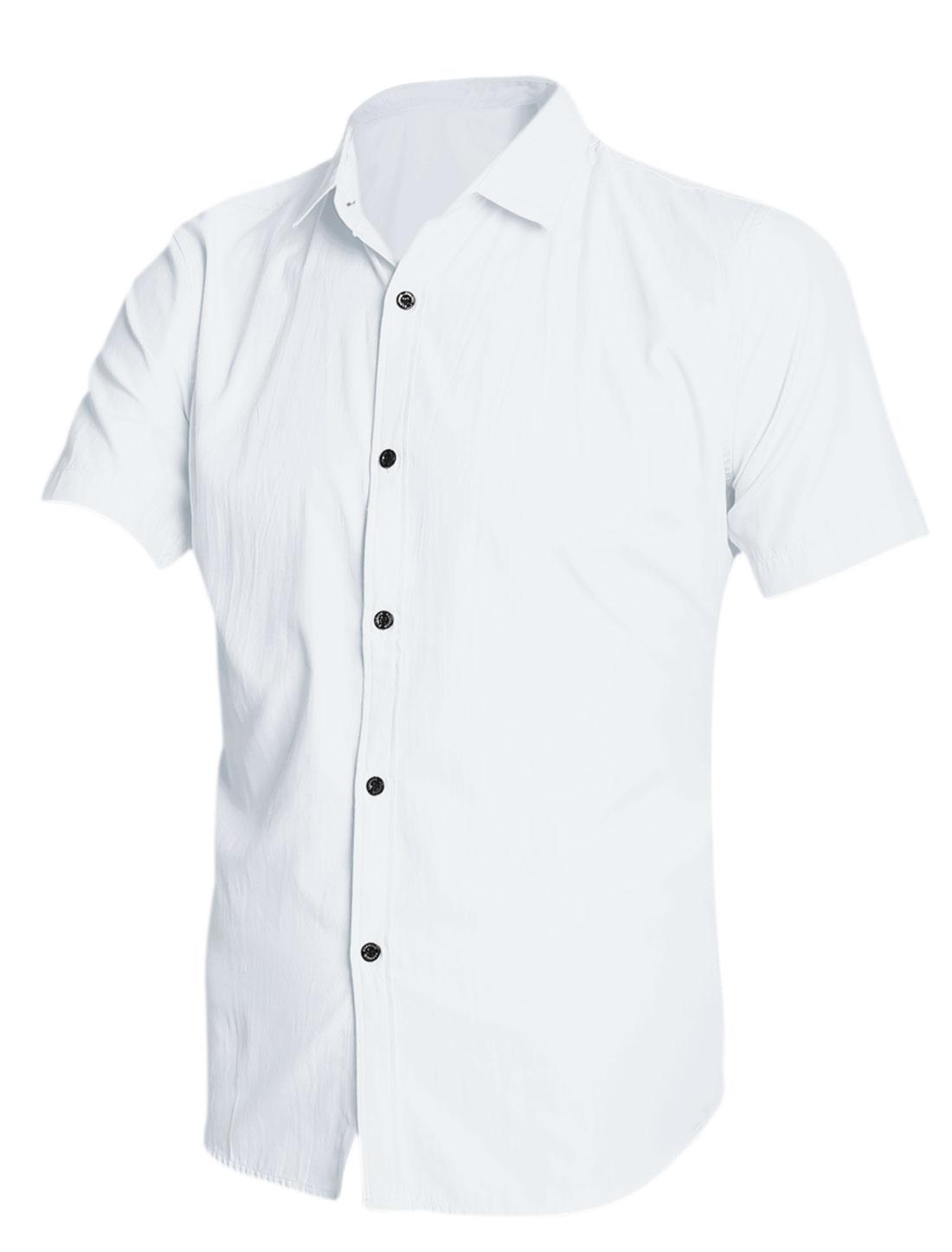Men Point Collar Short Sleeves Button Down Shirt White M
