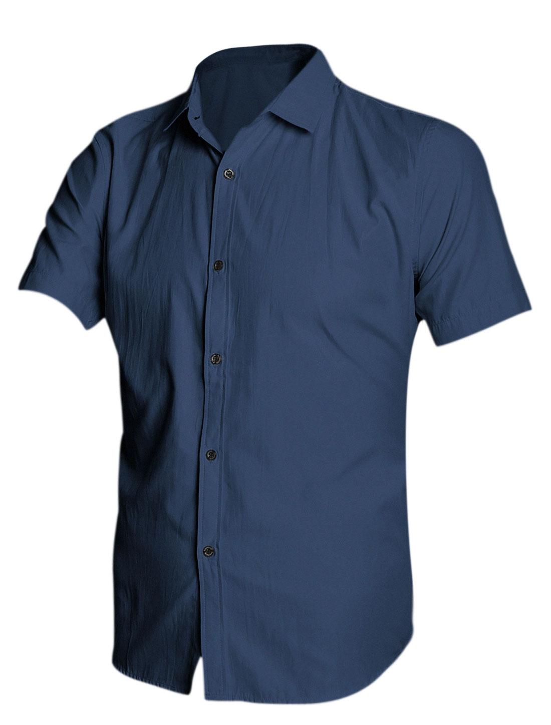 Man Basic Collar Short Sleeves Button Down Shirts Navy Blue M