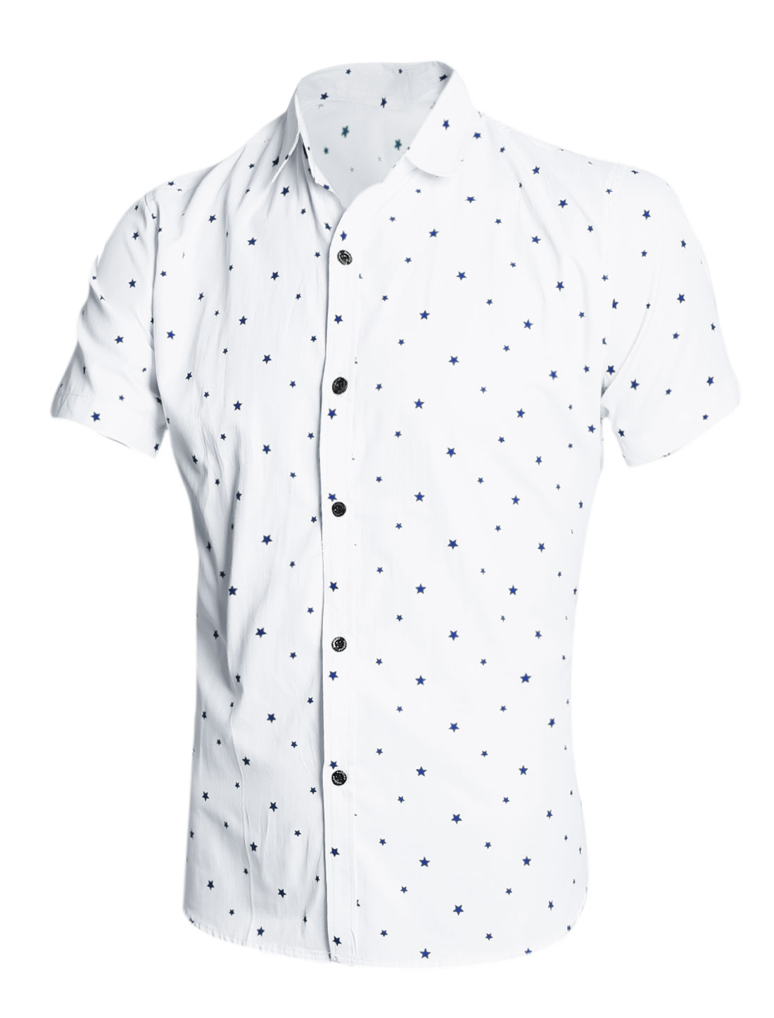 Men Short Sleeves Stars Prints Casual Shirts Navy Blue White M
