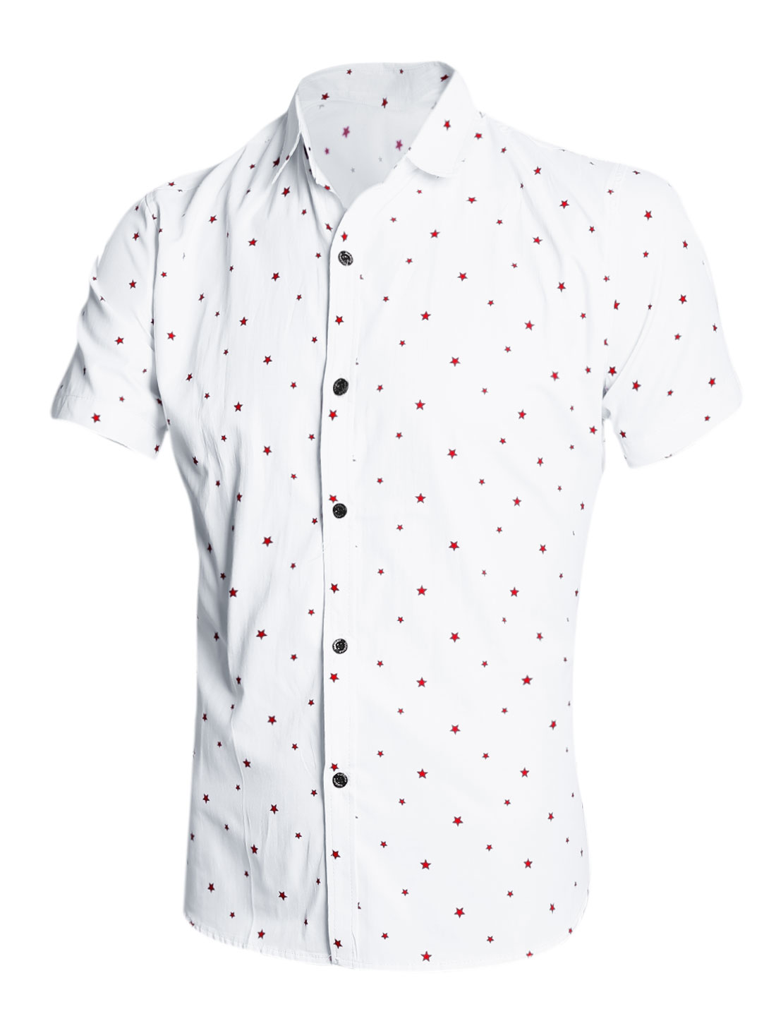 Man Short Sleeves Star Prints Button Down Shirt Red White M