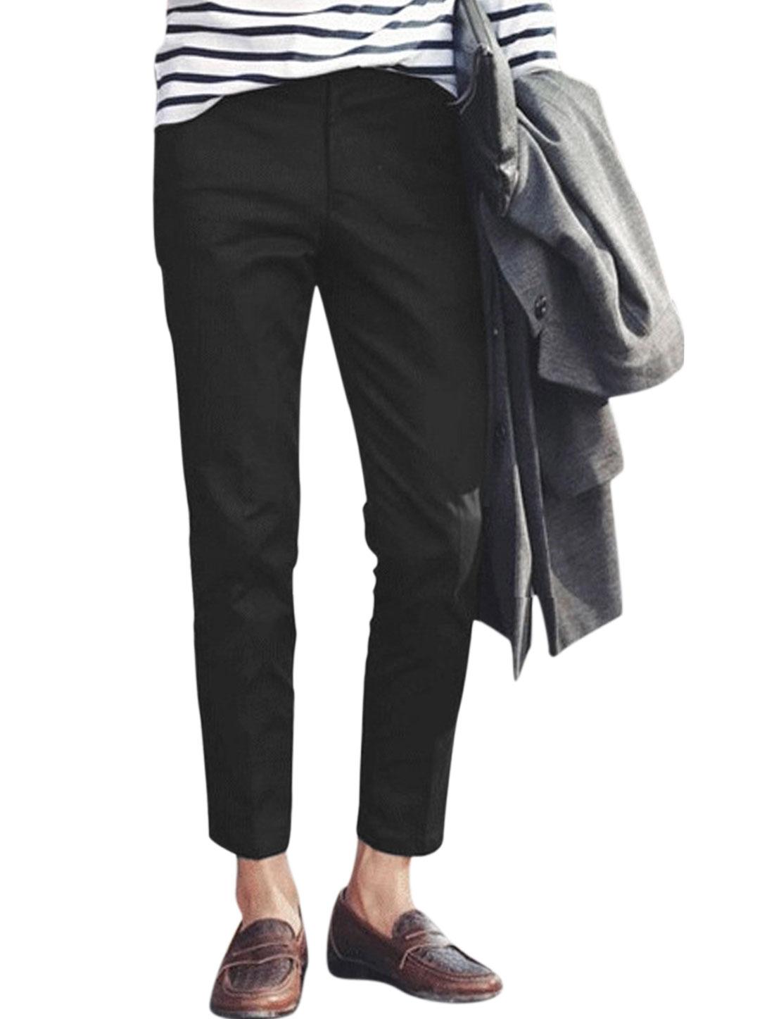 Man Belt Loop Mid Rise Slim Fit Button Fastening Cropped Pants Black W32