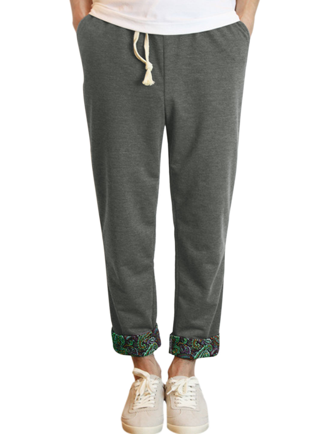 Man Paisley Pattern Detail Well-fitting Cropped Pants Dark Gray W32