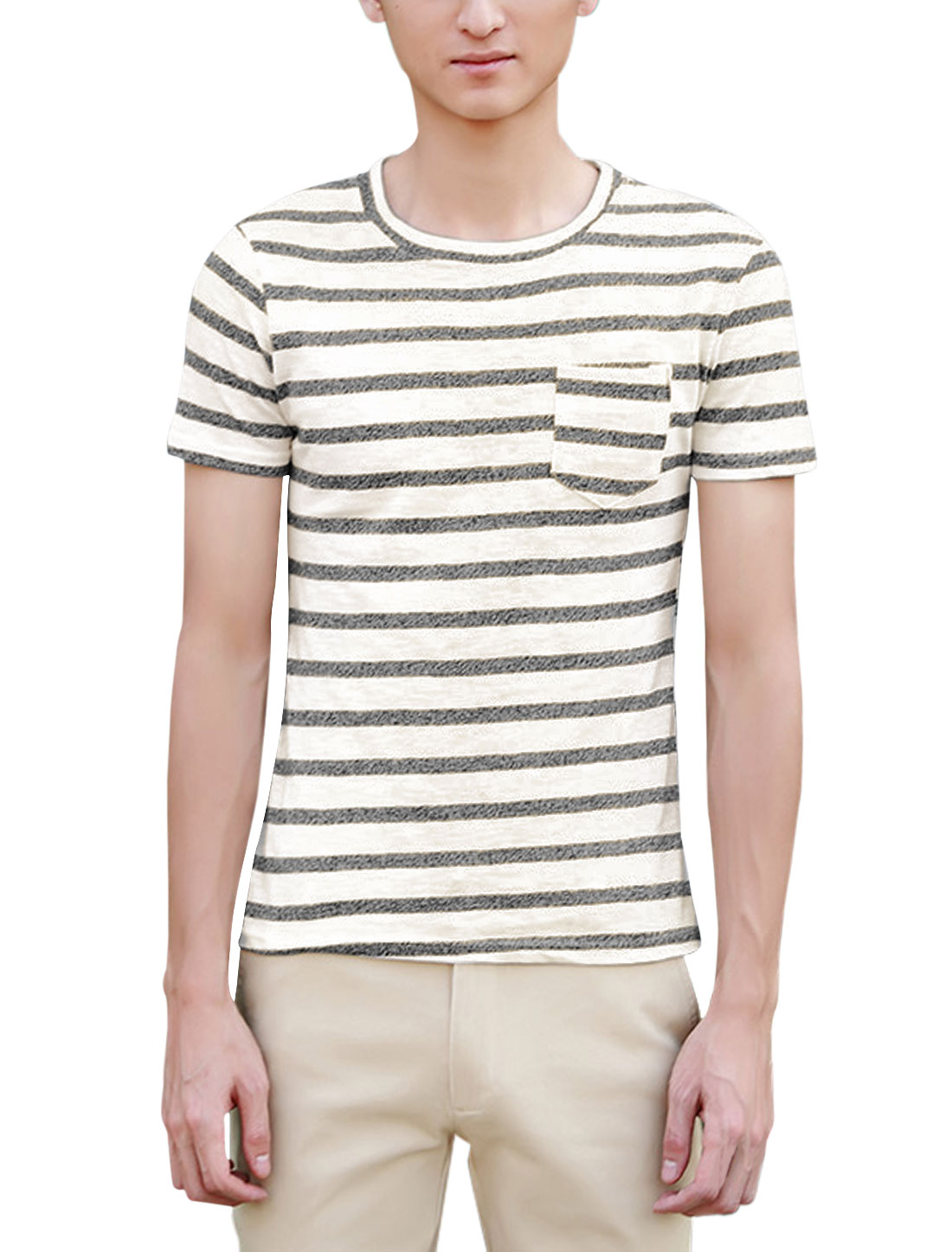 Men Stripes One Chest Pocket Short Sleeves Casual T-Shirts Black White S