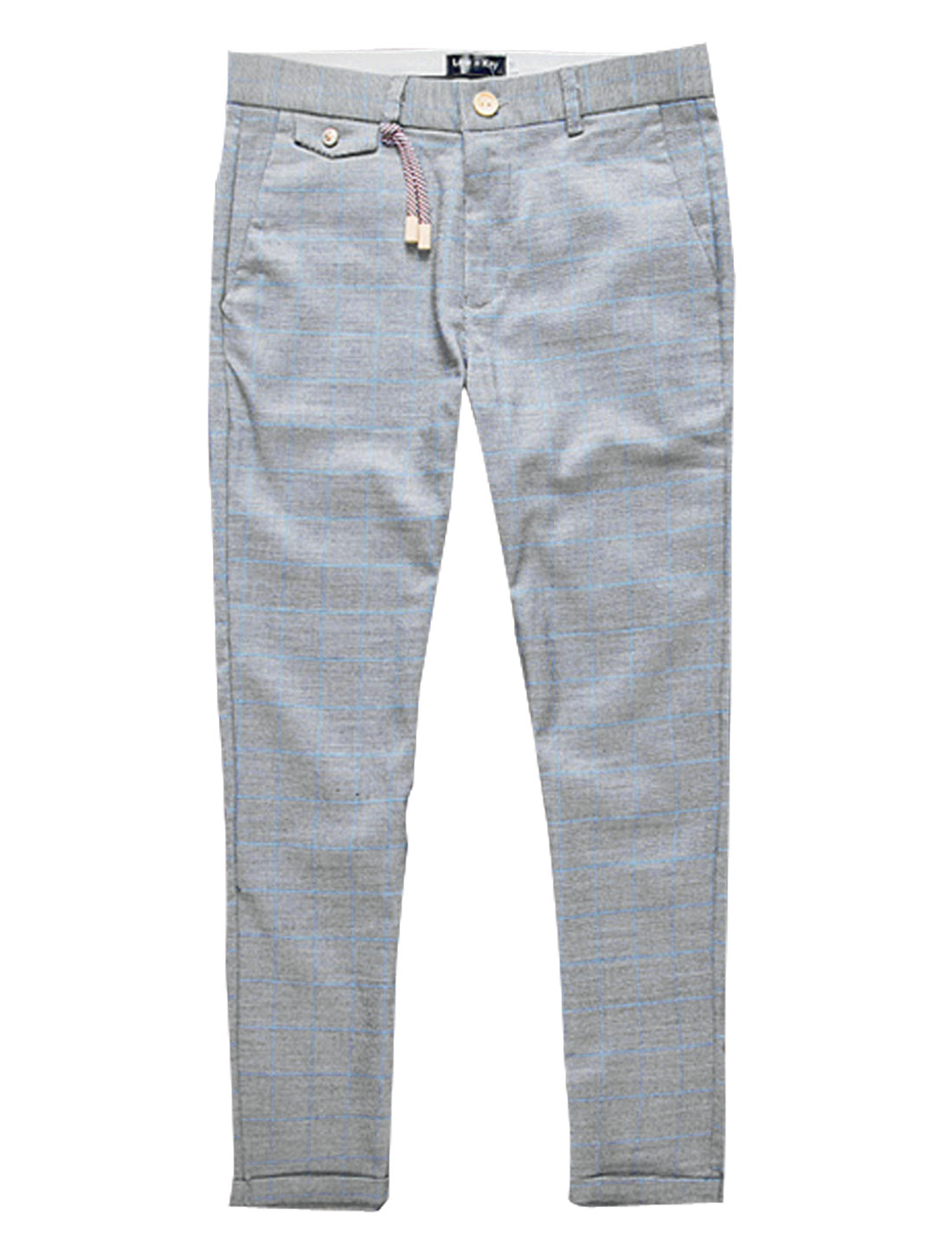 Men Plaids Mid Rise Rolled Cuffs Casual Cropped Pants Gray W30