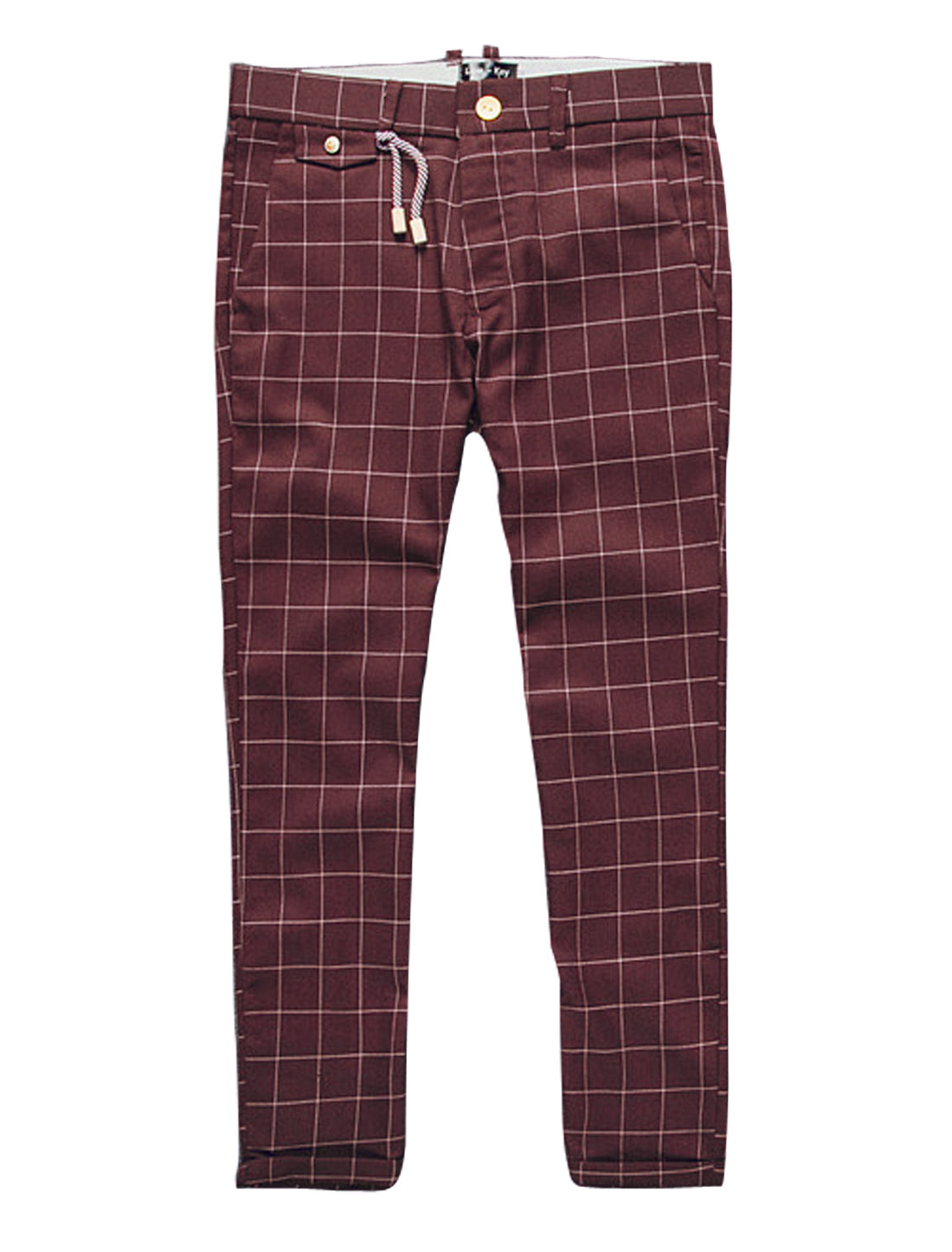 Men Plaids Rope Decor Rolled Cuffs Casual Cropped Pants Burgundy W30
