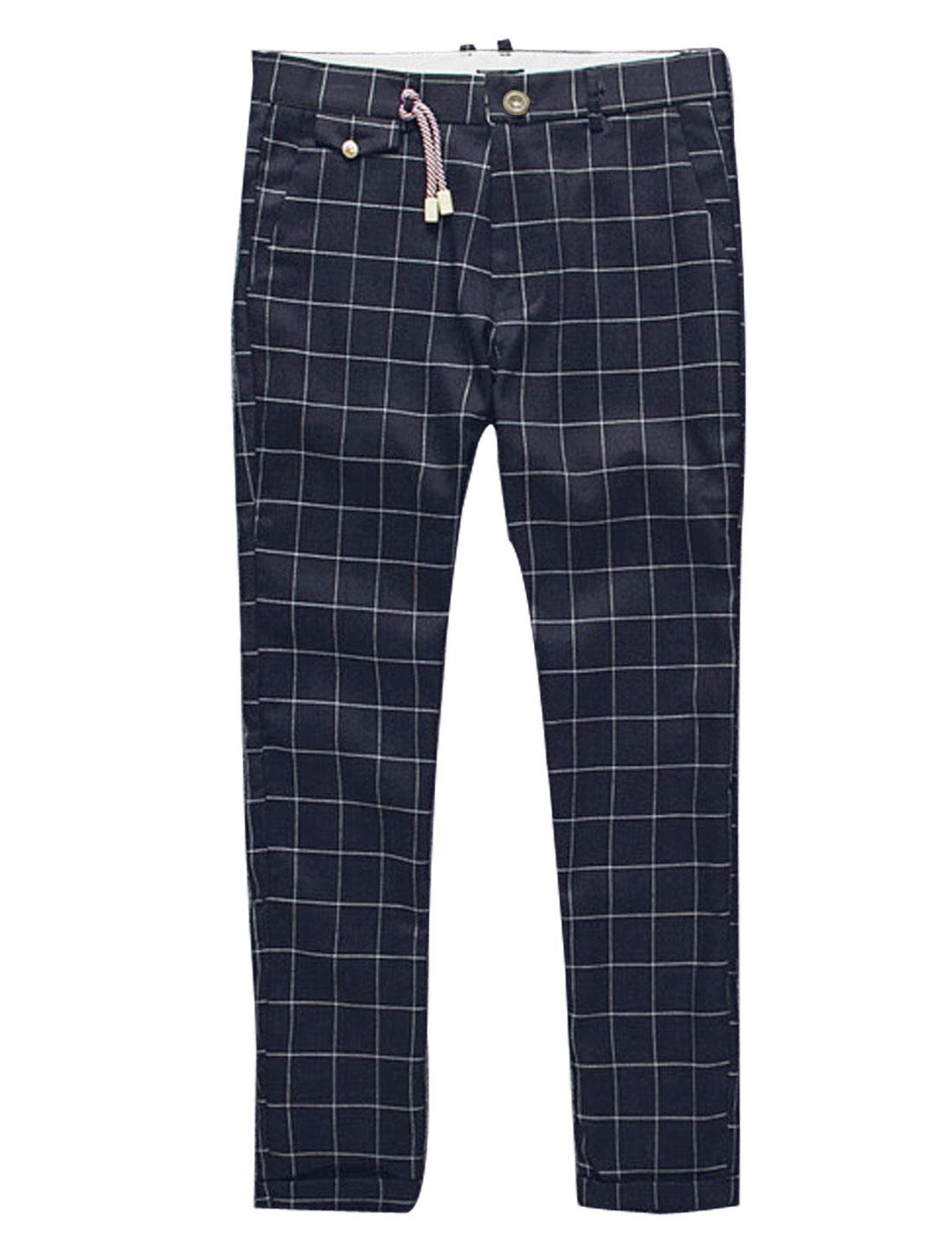 Men Plaids Mid Rise Rolled Cuffs Four Pockets Cropped Pants Dark Blue W30