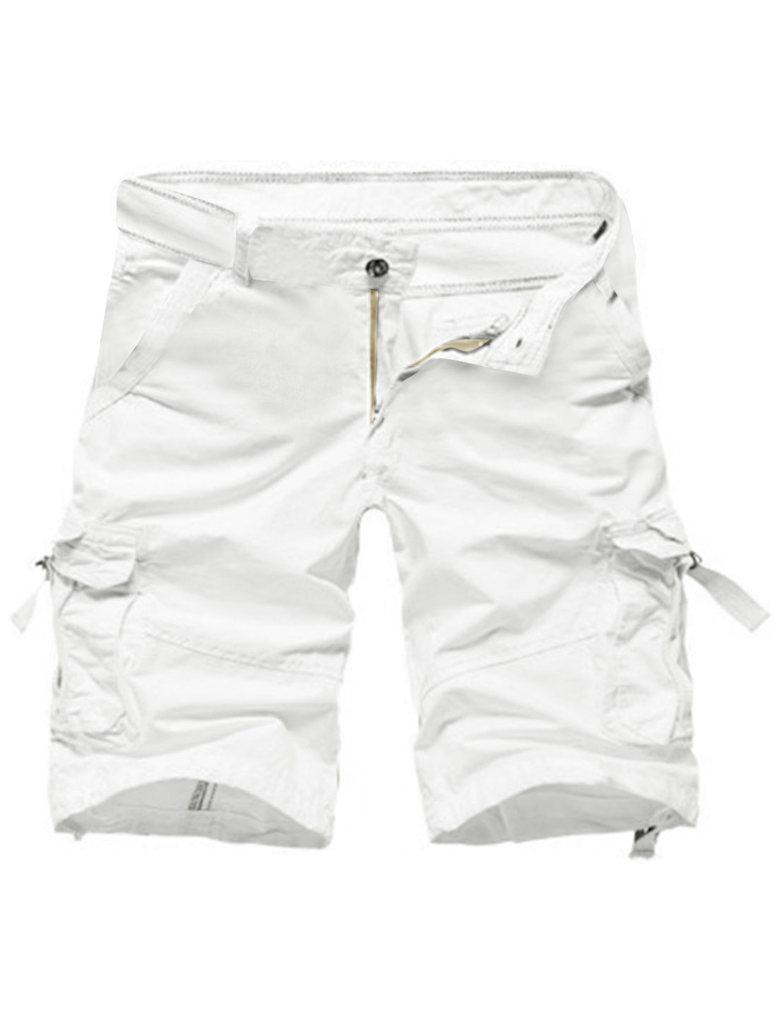Men Midi Rise Practical Pockets Casual Cargo Shorts White W30