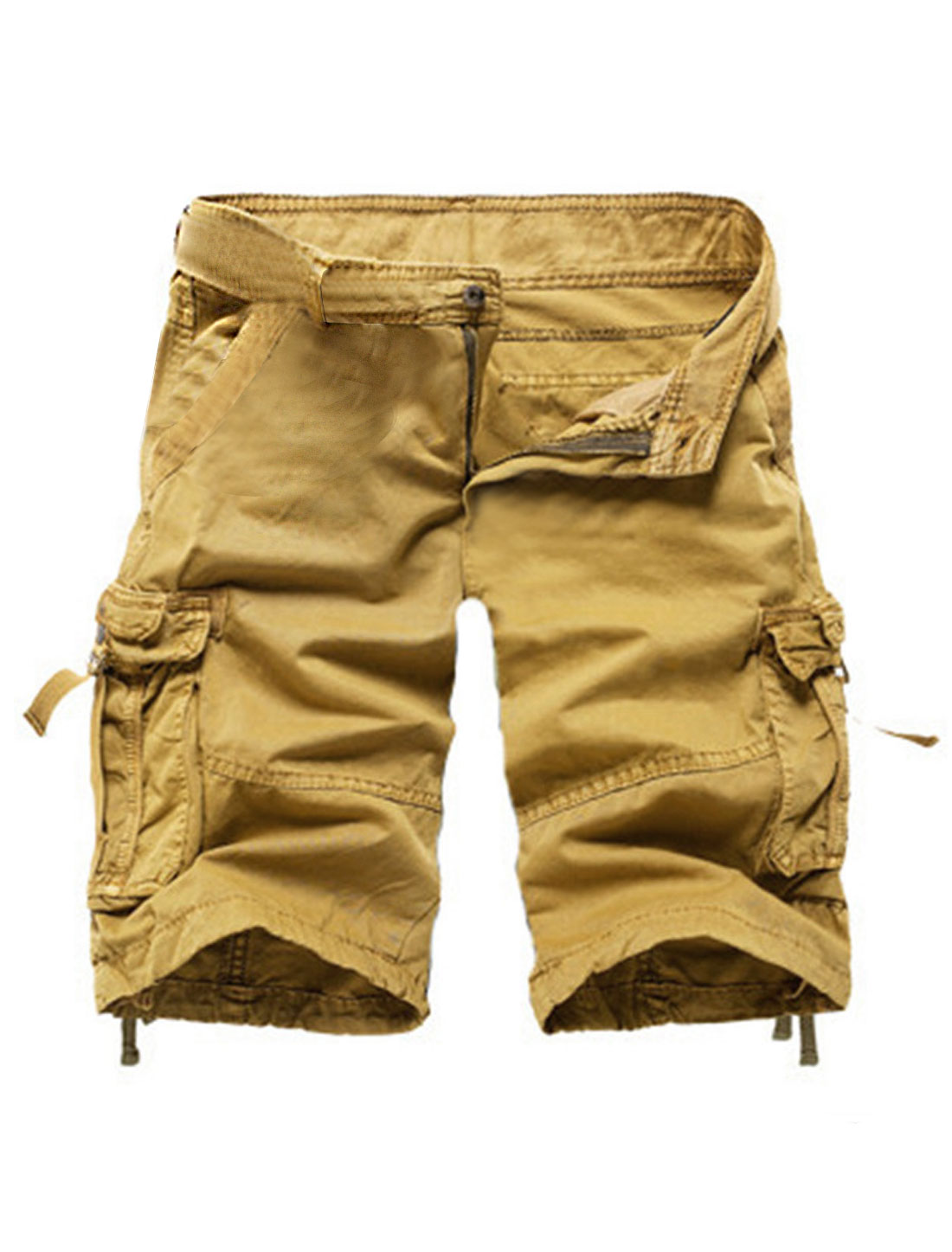 Men Mid Rise Classy Six Pockets Cargo Shorts Khaki W30
