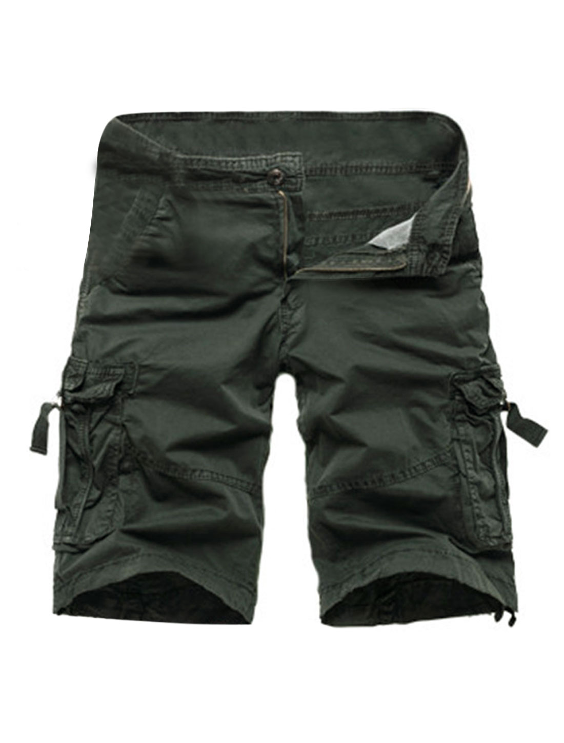 Men Mid Rise Cargo Pockets Casual Shorts Army Green W30