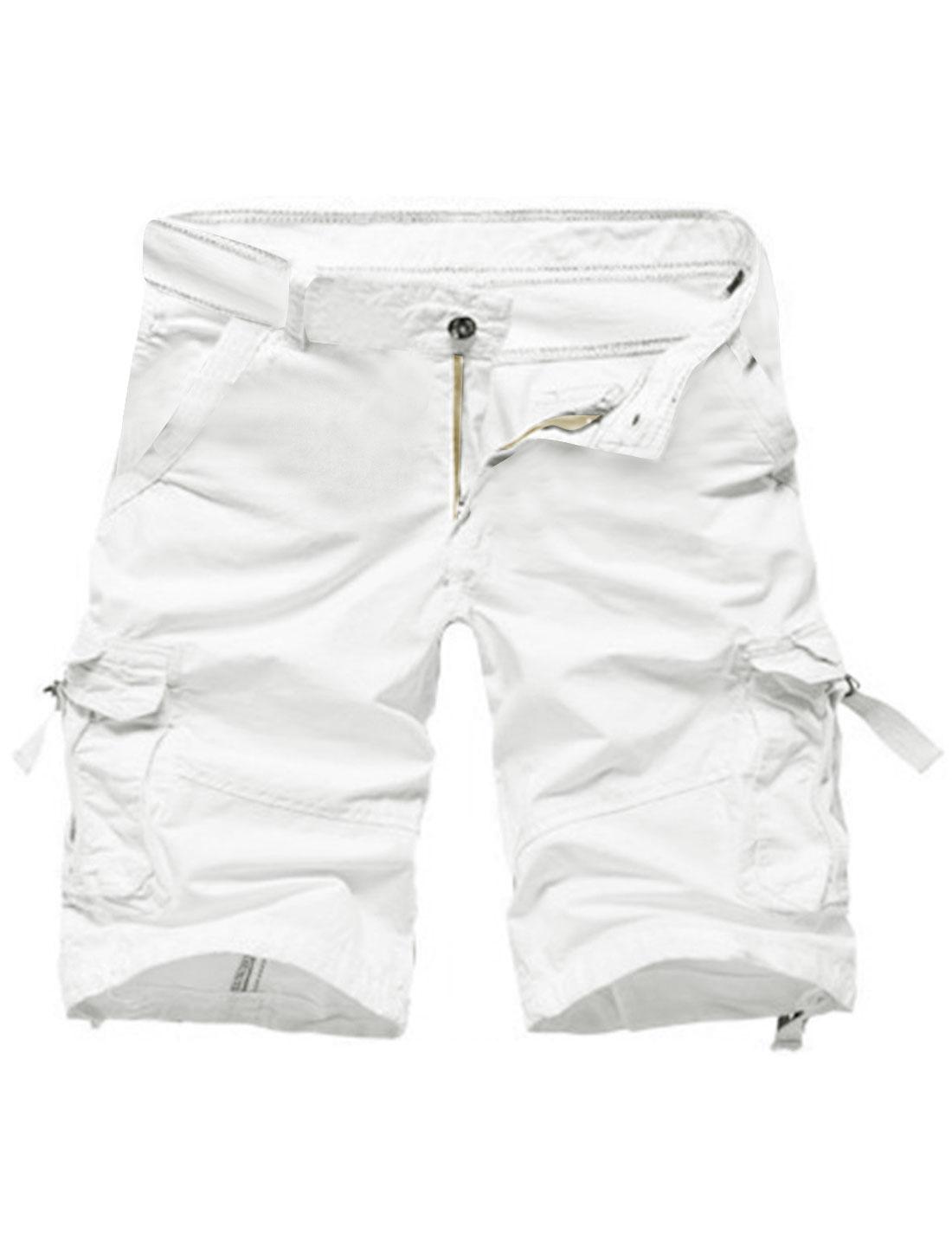 Man Mid Rise Two Slanted Pockets Cargo Shorts White W34