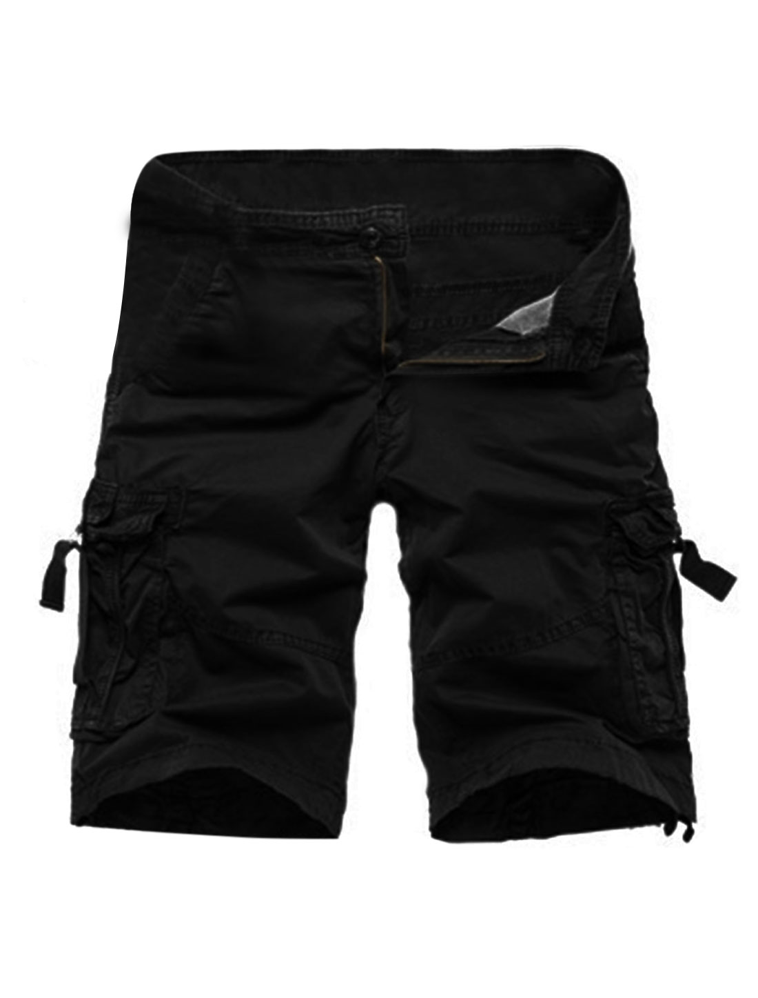 Man Natural Waist Functional Pockets Cargo Shorts Black W34