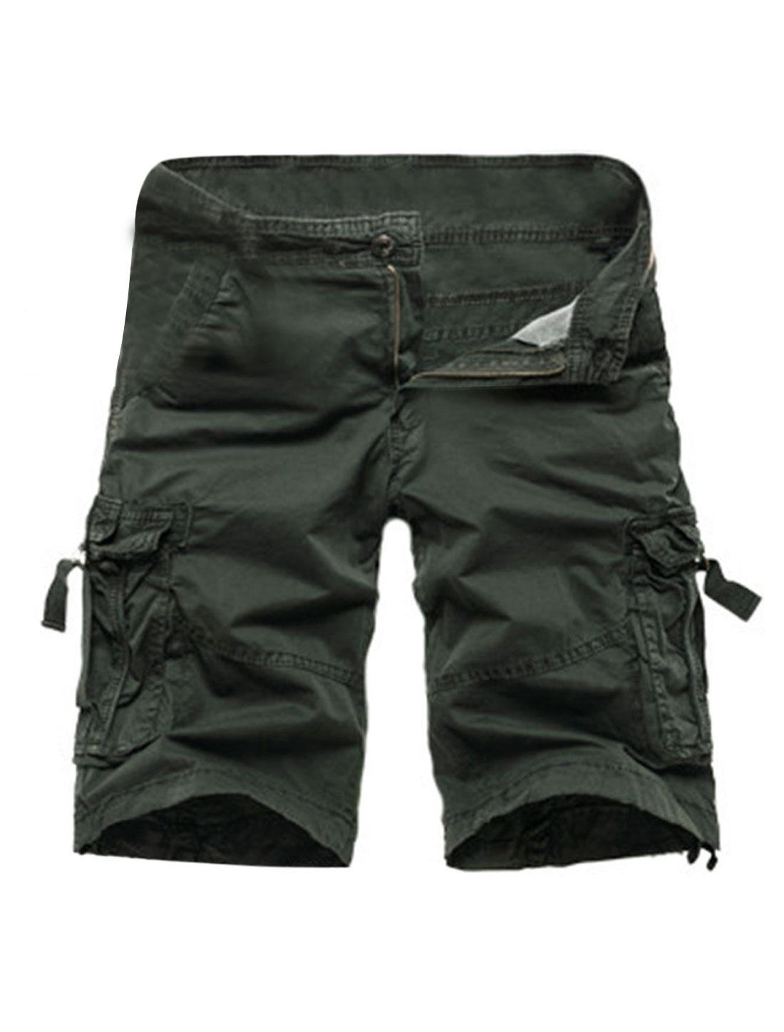 Man Mid Rise Drawstring Cuffs Cargo Shorts Army Green W34