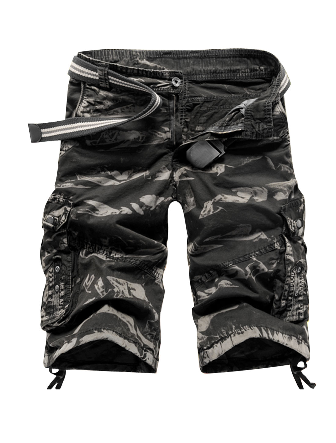 Men Flap Pockets Camouflage Pattern Cargo Shorts Black W34