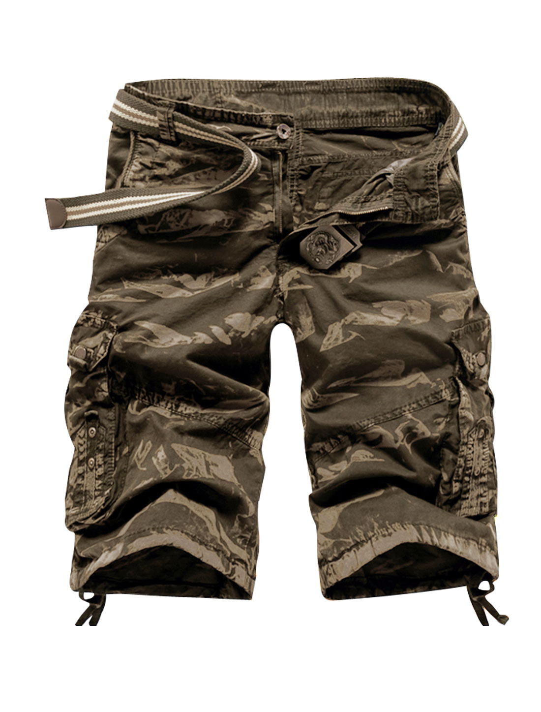Men Camouflage Pattern Military Cargo Shorts Army Green W34