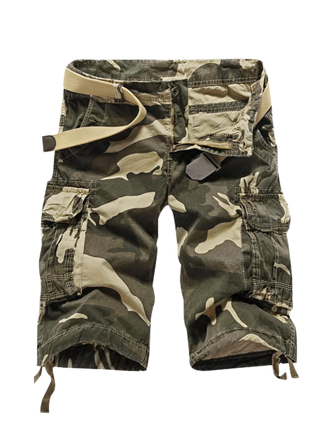 Man Camouflage Pattern Drawstring Cuffs Cargo Shorts Beige Khaki W34