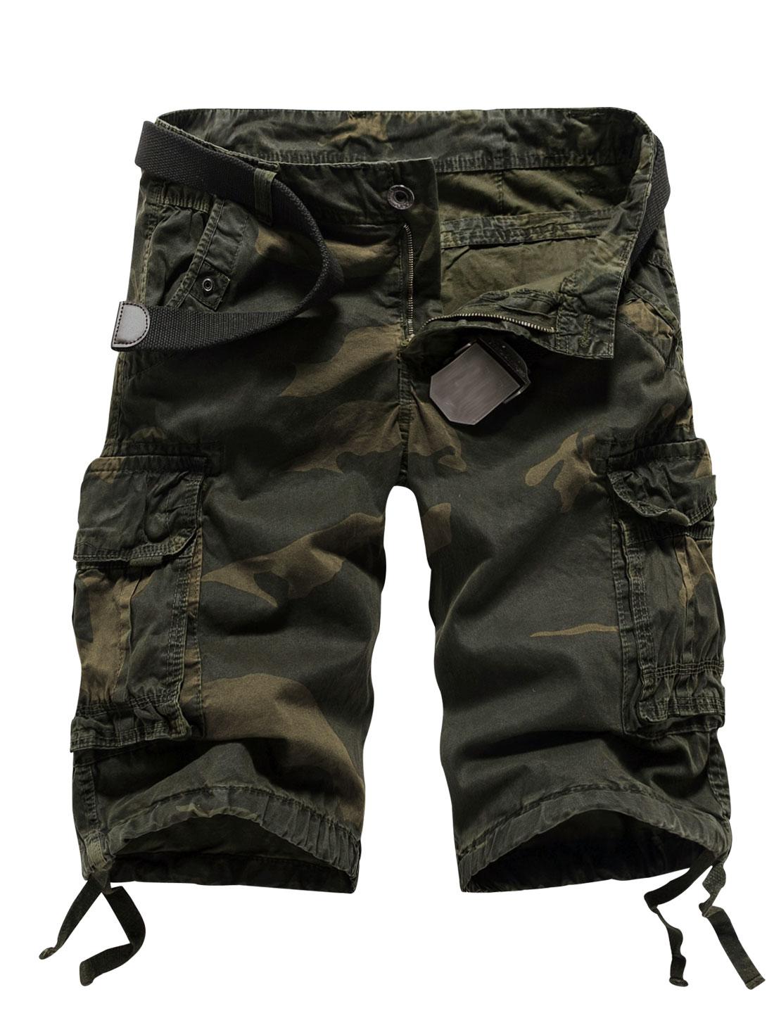 Man Functional Pockets Camo Cargo Shorts Army Green Ebony W34