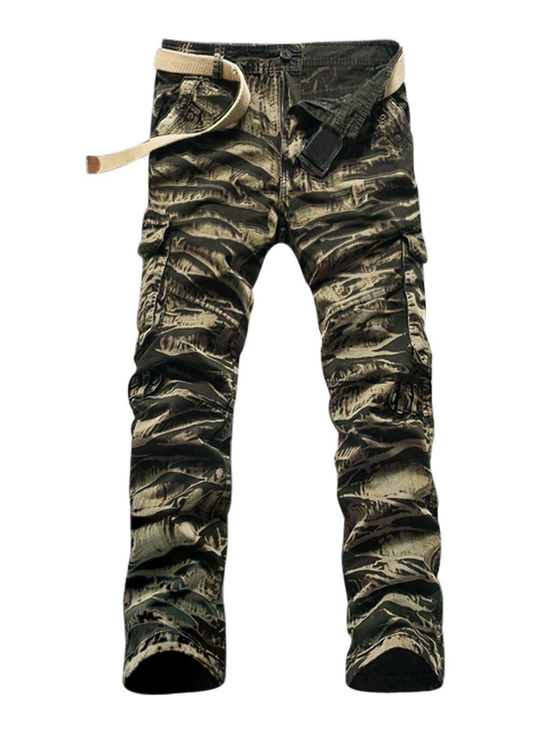 Man Practical Pockets Tiger Stripe Twill Cargo Army Green Beige W34