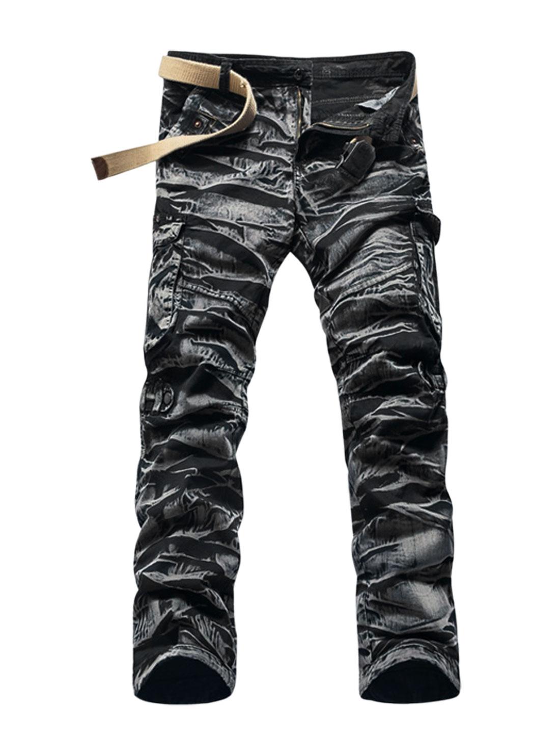 Men Tiger Stripes Military Cargo Pants Black White W34