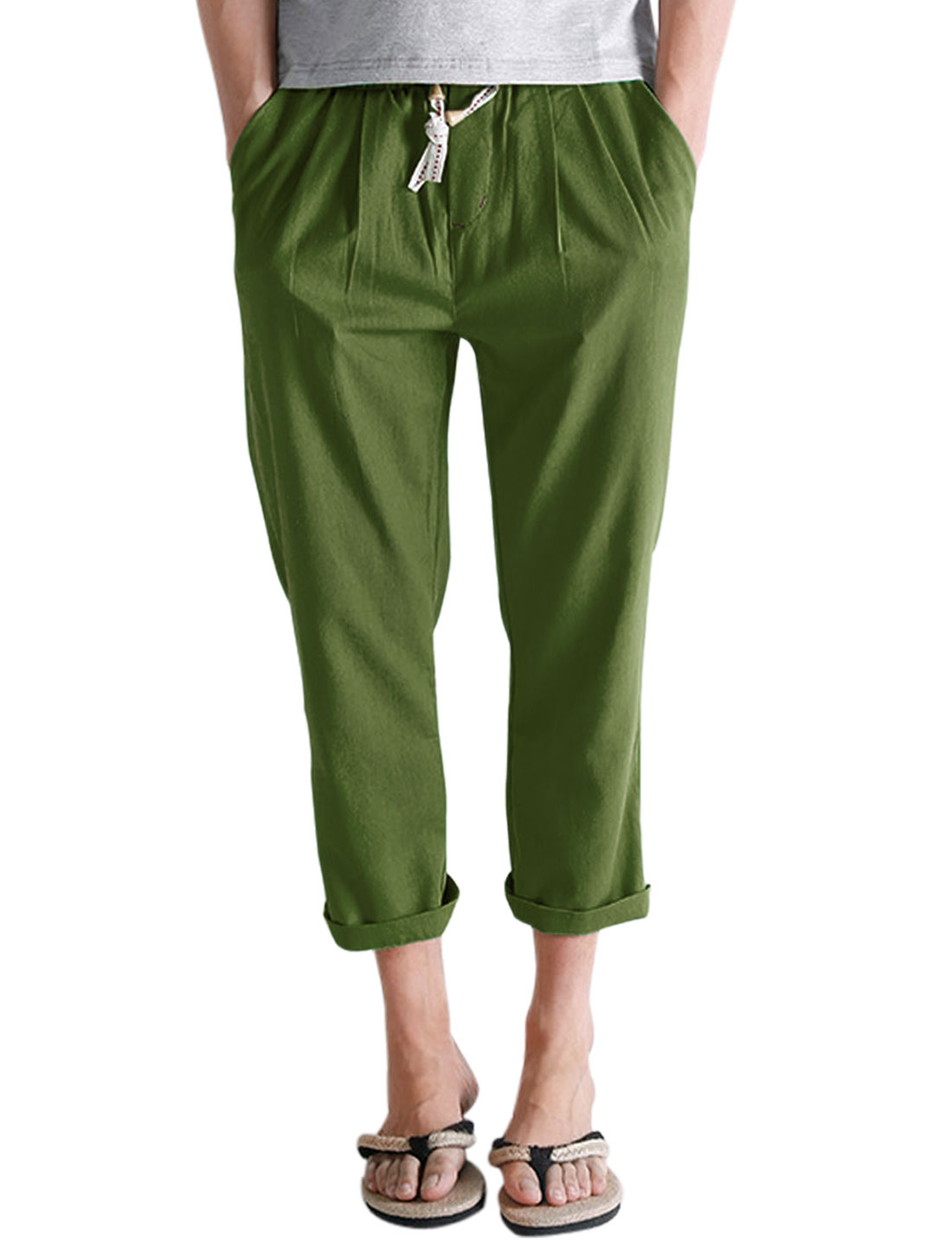 Men Elastic Waist Linen Two Pockets Front Cropped Pants Army Green W30