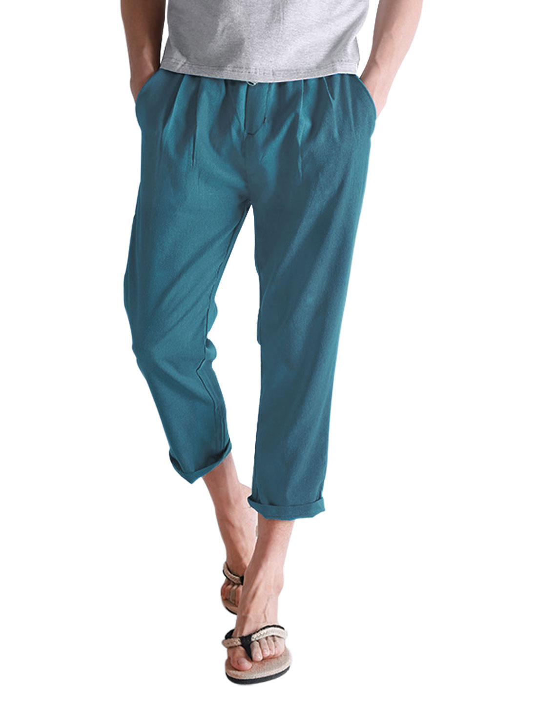 Men Elastic Drawstring Waist Linen Casual Cropped Pants Turquoise W30