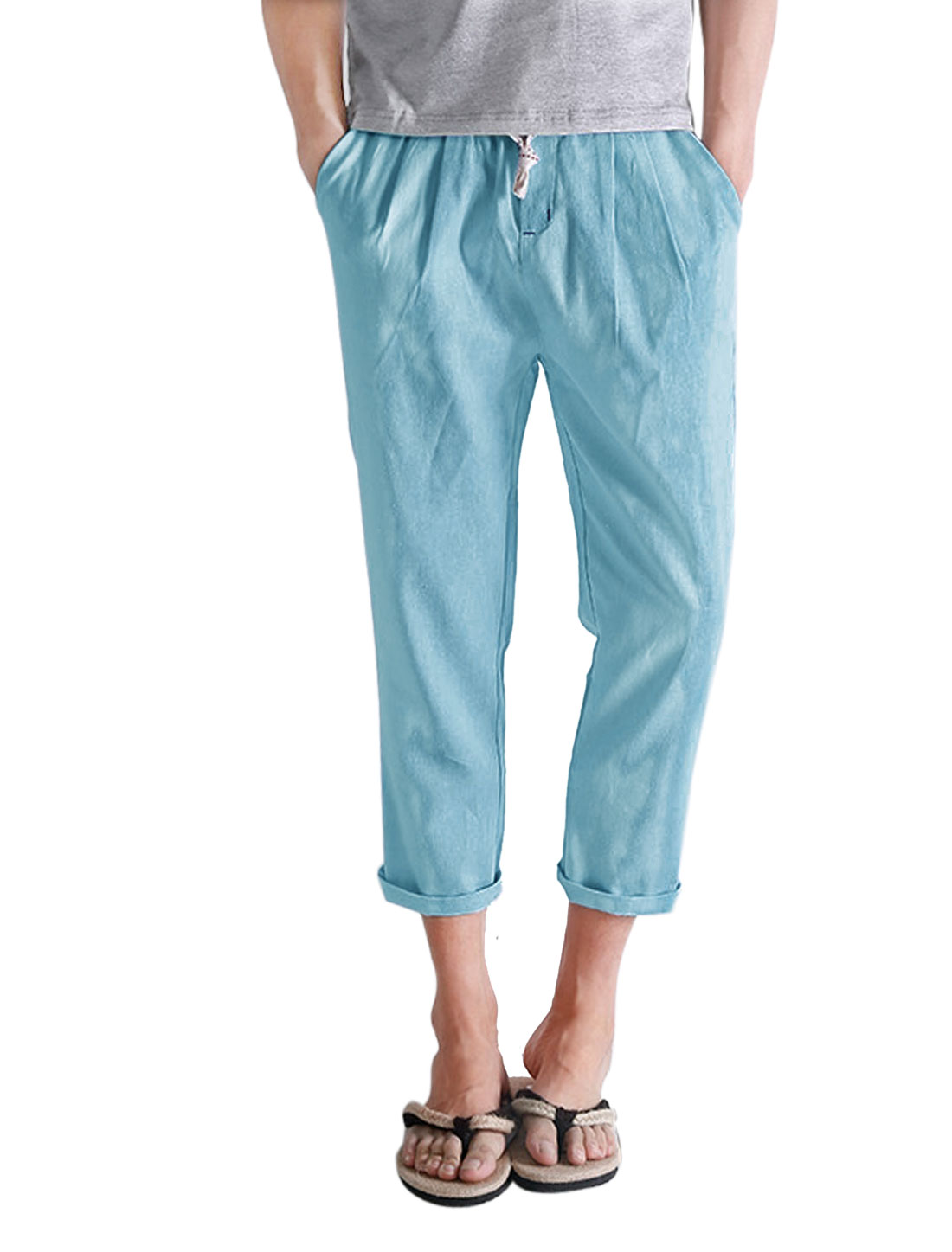Men Drawstring Waist Mid Rise Linen Casual Cropped Pants Light Blue W30