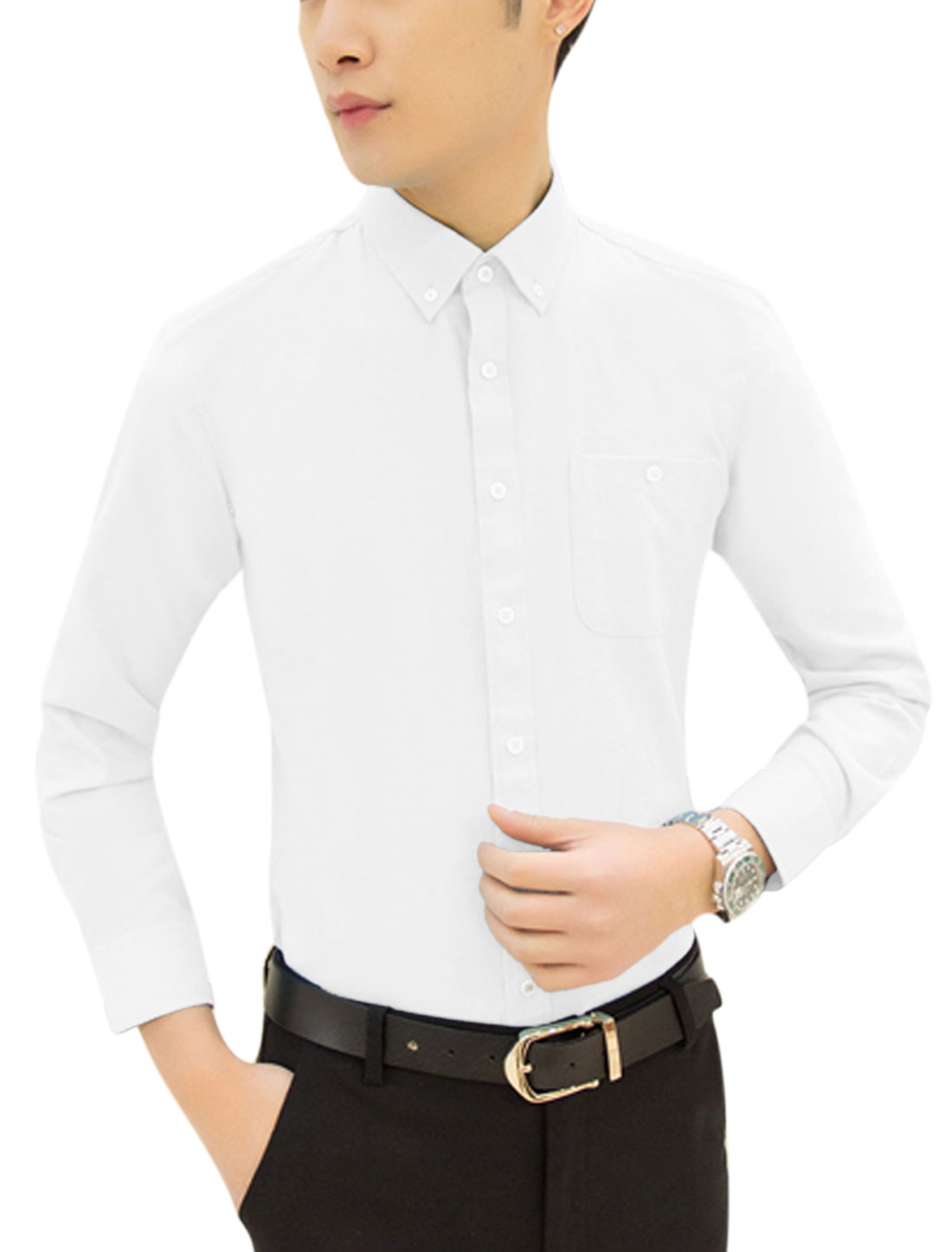 Men Point Collar Pocket Button Down Casual Shirt White M