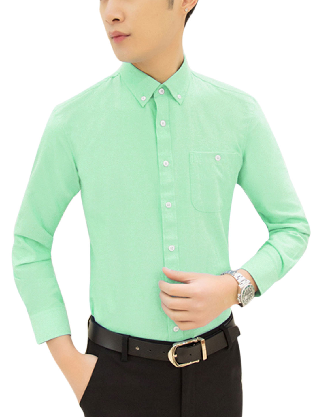 Men Long Sleeve Point Collar Pocket Relaxed Shirts Mint M