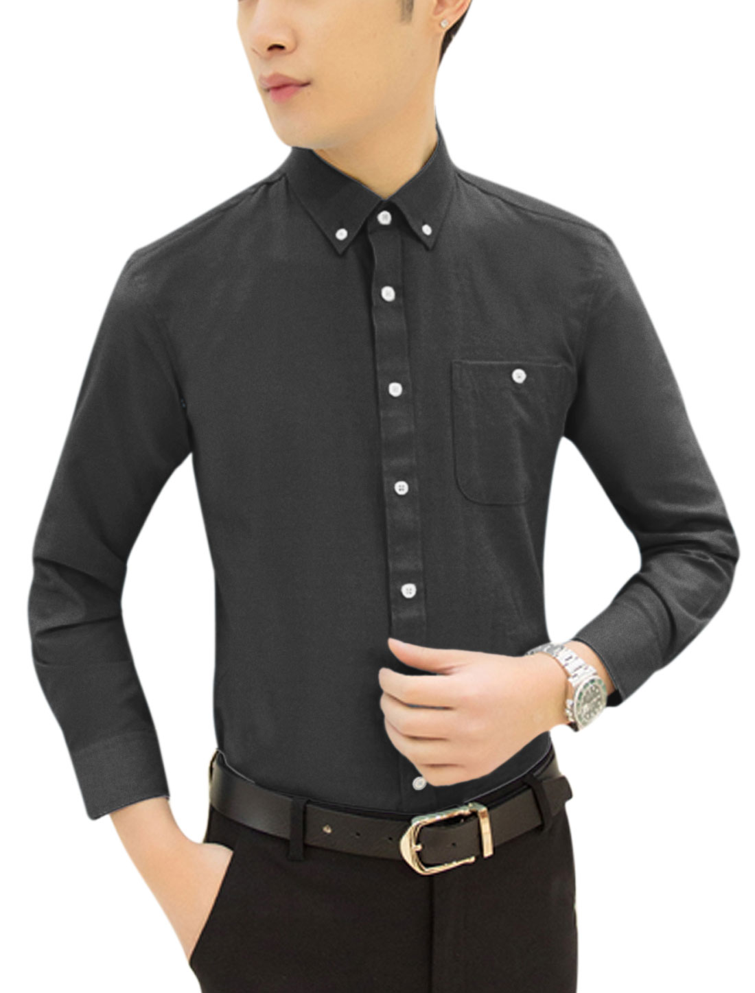 Man Long Sleeve Pocket Button Down Slim Fit Tops Shirts Black M