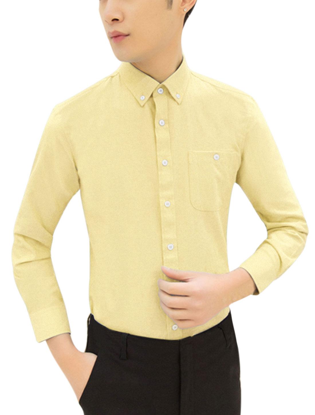 Men Long Sleeve Pocket Button Down Relaxed Tops Shirt Light Yellow M