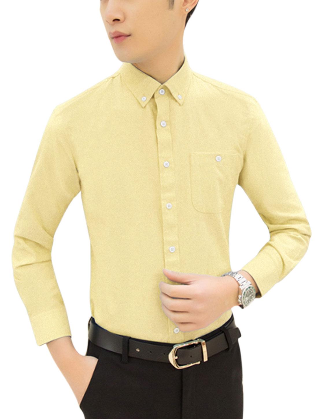 Men Long Sleeve Point Collar Button Down Top Shirts Light Yellow M