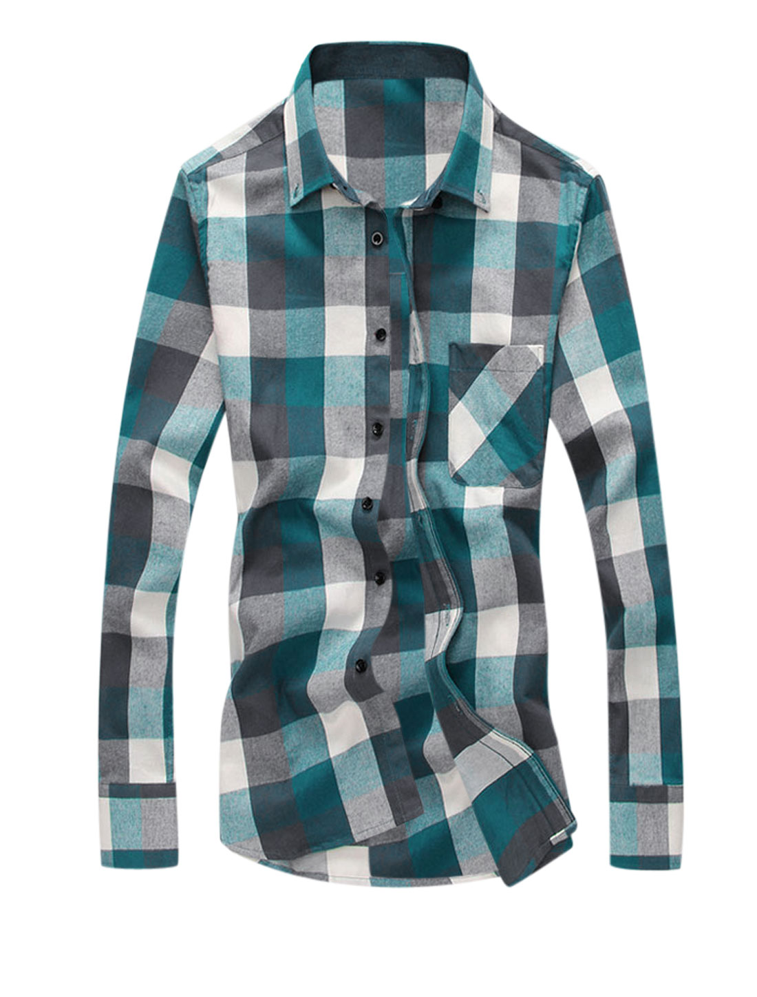 Mens Long Sleeve Pocket Button Down Checks Print Shirts Turquoise Beige M