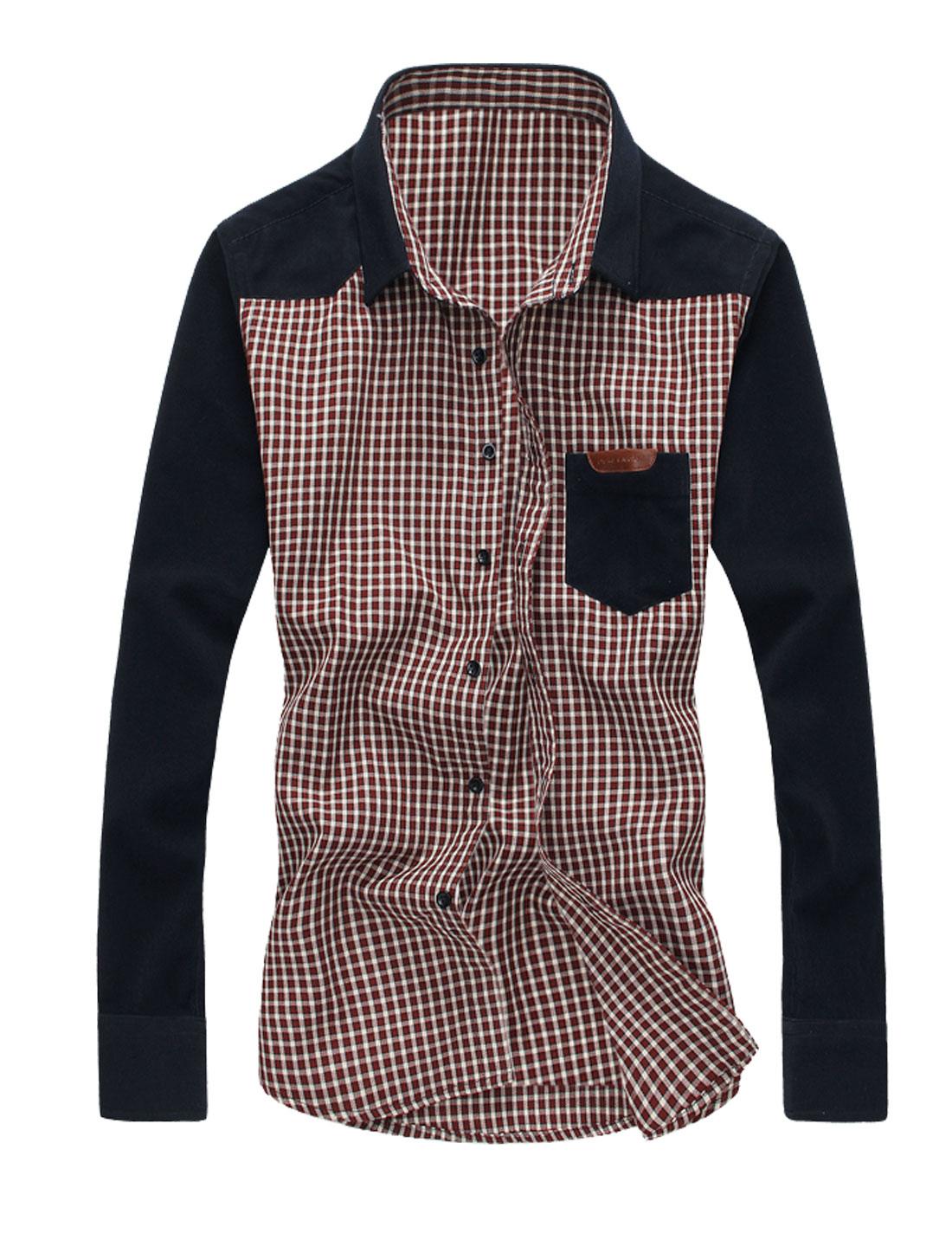 Men Long Sleeve Point Collar Pocket Plaids Shirts Tops Burgundy Navy Blue M
