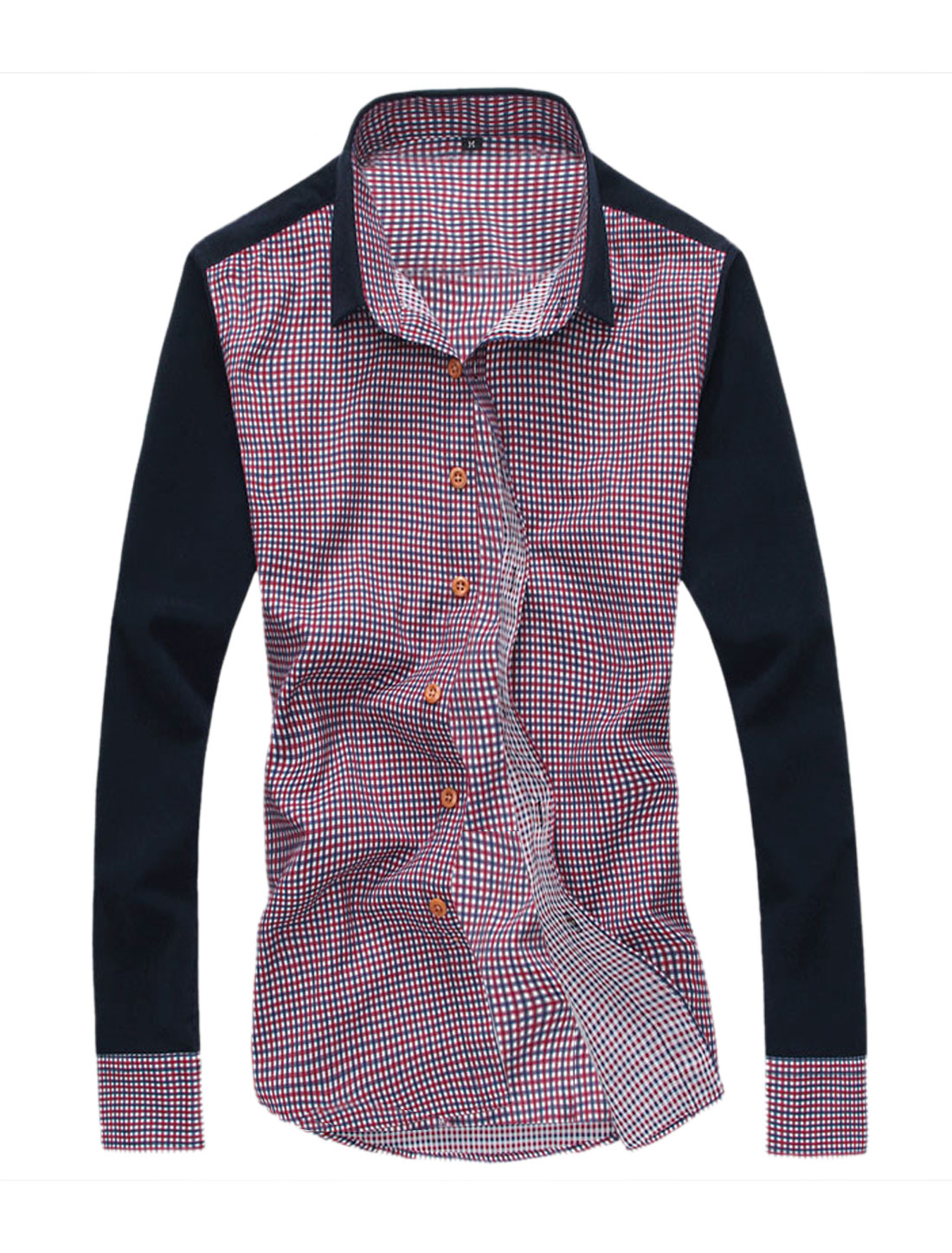Men Plaids Contrast Color One Chest Pocket Shirt Burgundy Dark Blue M