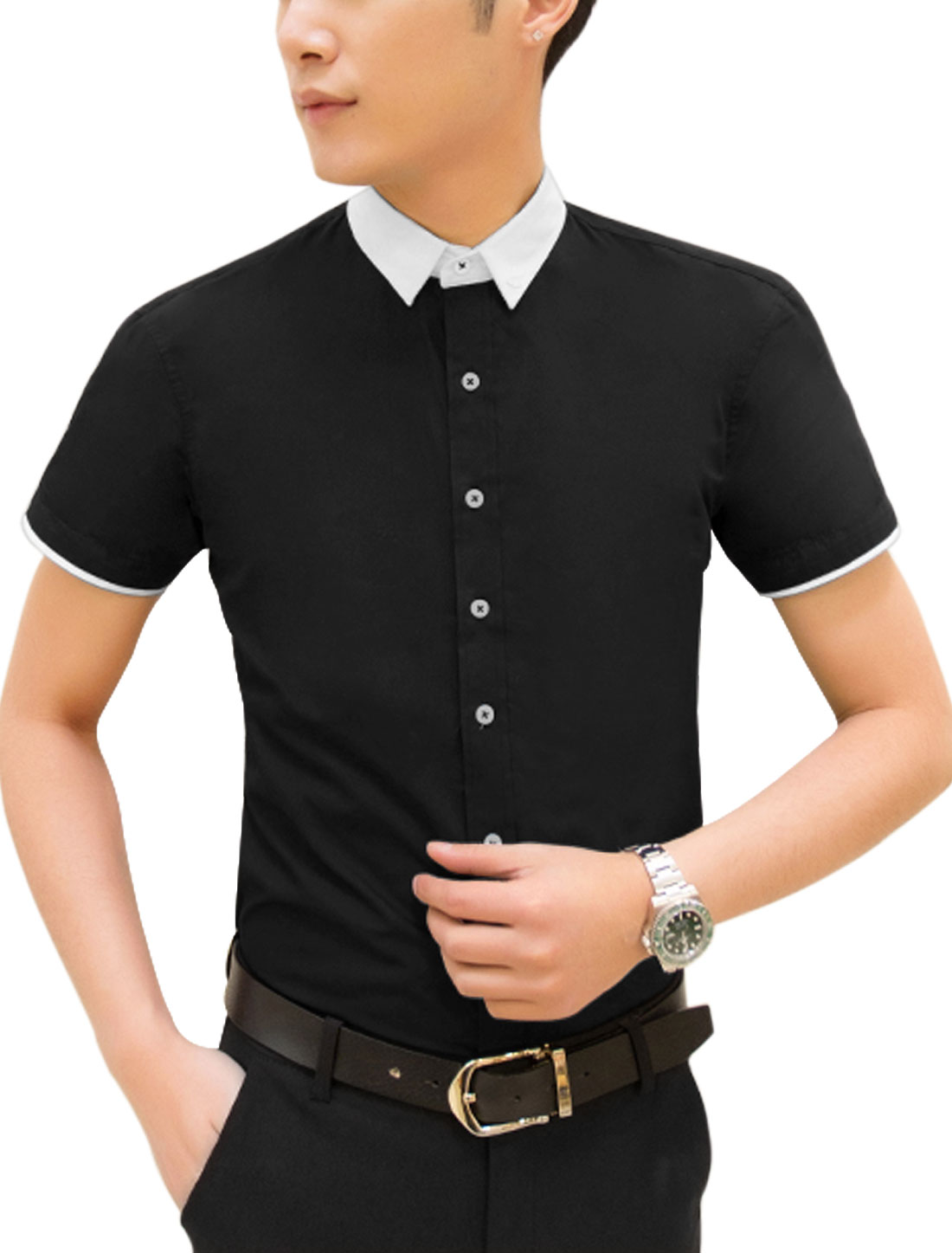 Men Short Sleeve Point Collar Button Down Casual Shirt Black M
