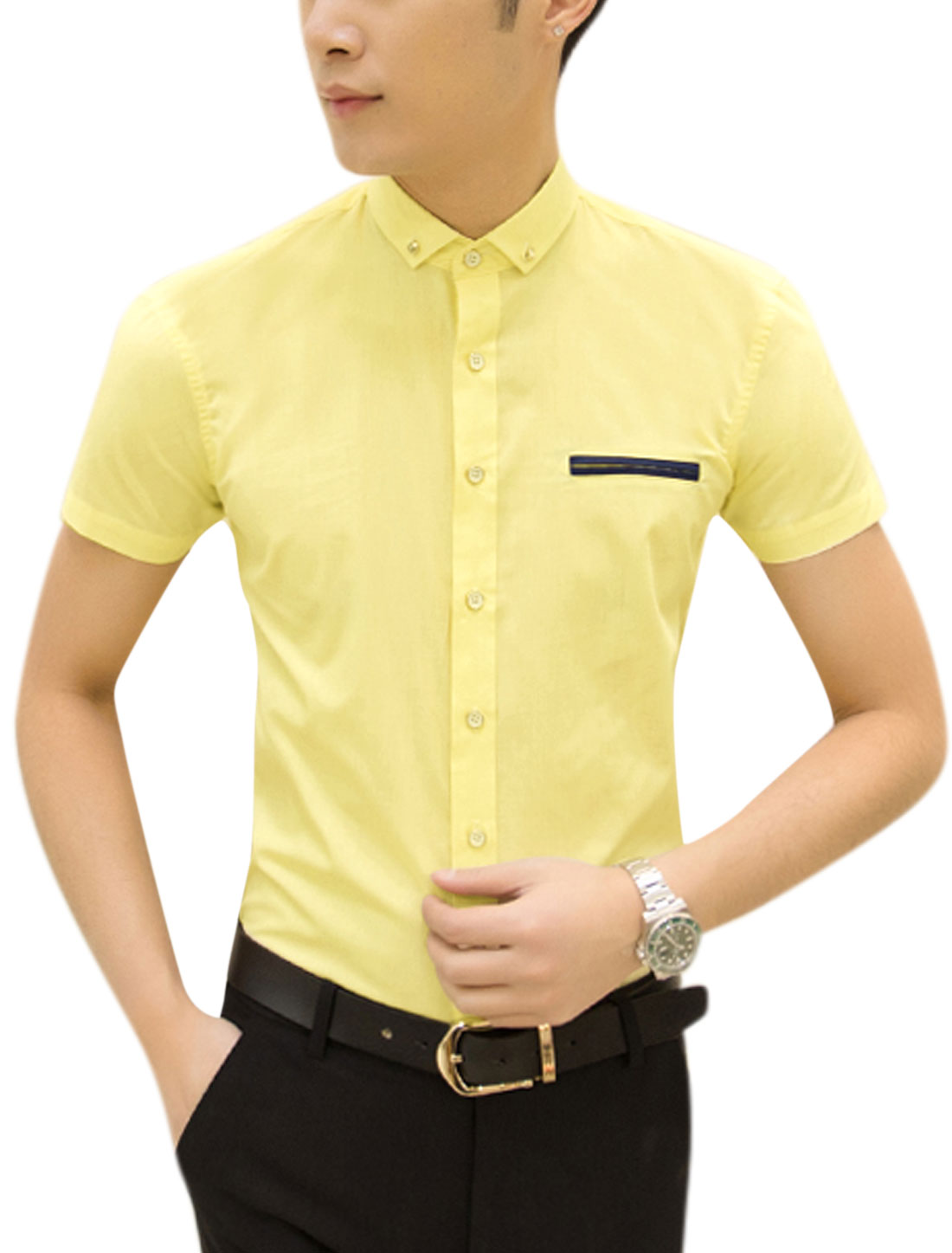 Men Short Sleeve Point Collar Button Down Summer Shirts Light Yellow M