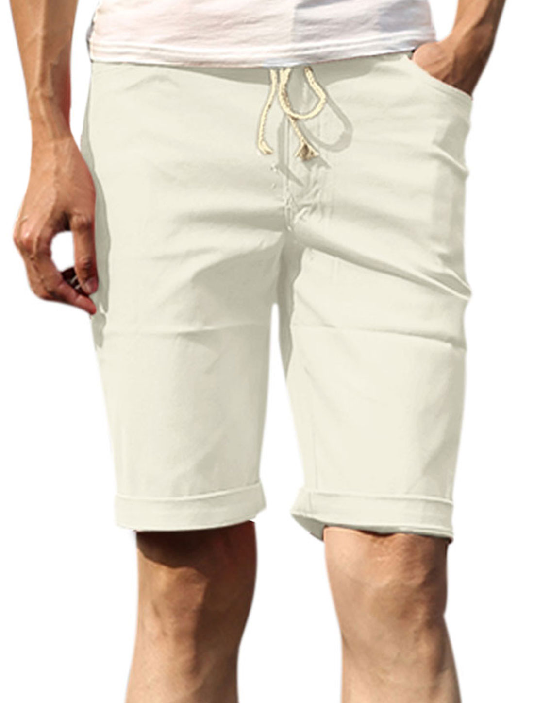 Men Elastic Drawstring Waist Classic Five Pockets Casual Shorts Off White W32
