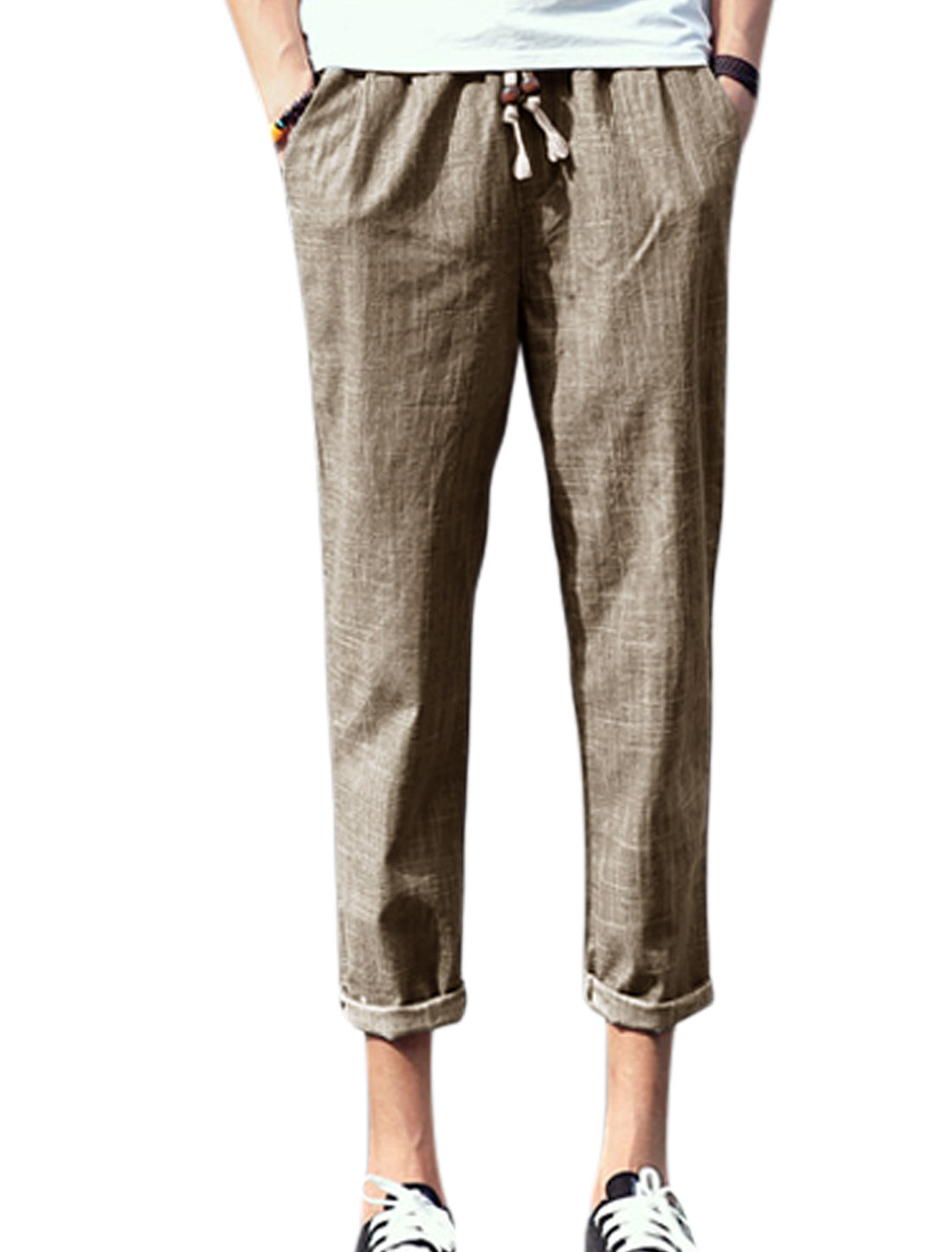 Man Elastic Drawstring Waist Well-fitting Casual Cropped Pants Dark Beige W30