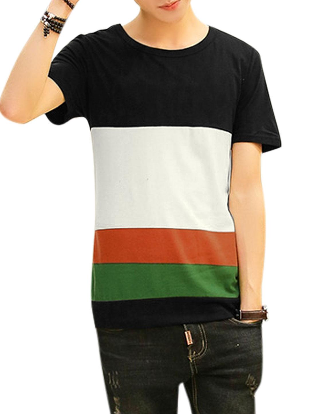 Men Contrast Color Round Neck Short Sleeves Slipover Tee Shirt Black White M