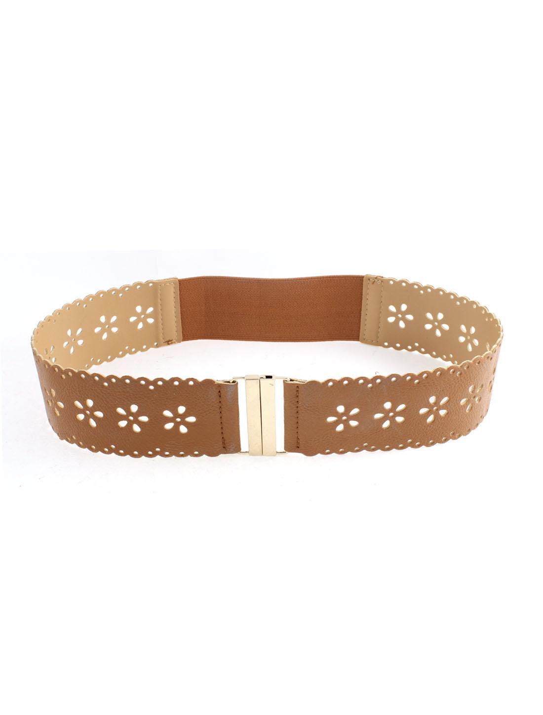 Ladies Slide Buckle Flower Hollow Out Wide Band Elastic Waist Belt Brown