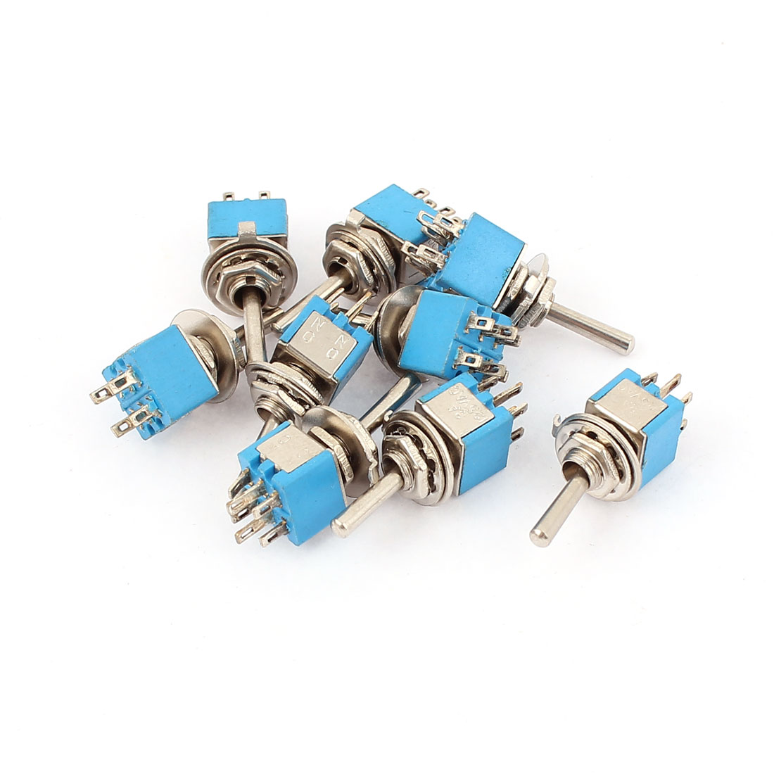 9 Pcs 250V 3A 6 Terminals Latching Rocker Type Power Toggle Switch DPDT