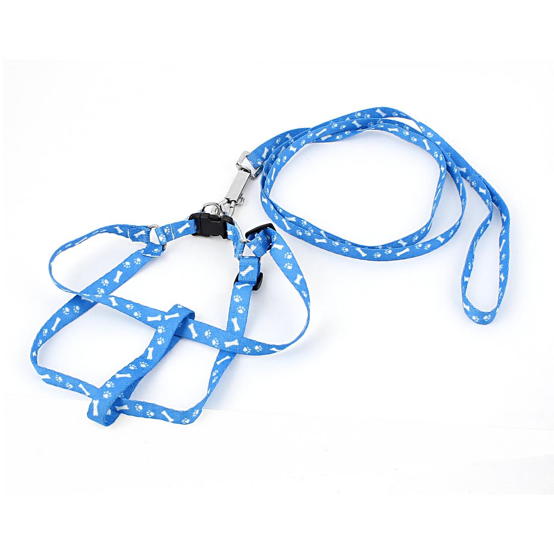 120cm 4ft Bone Paw Print Adjustable Pet Puppy Dog Harness Leash Blue