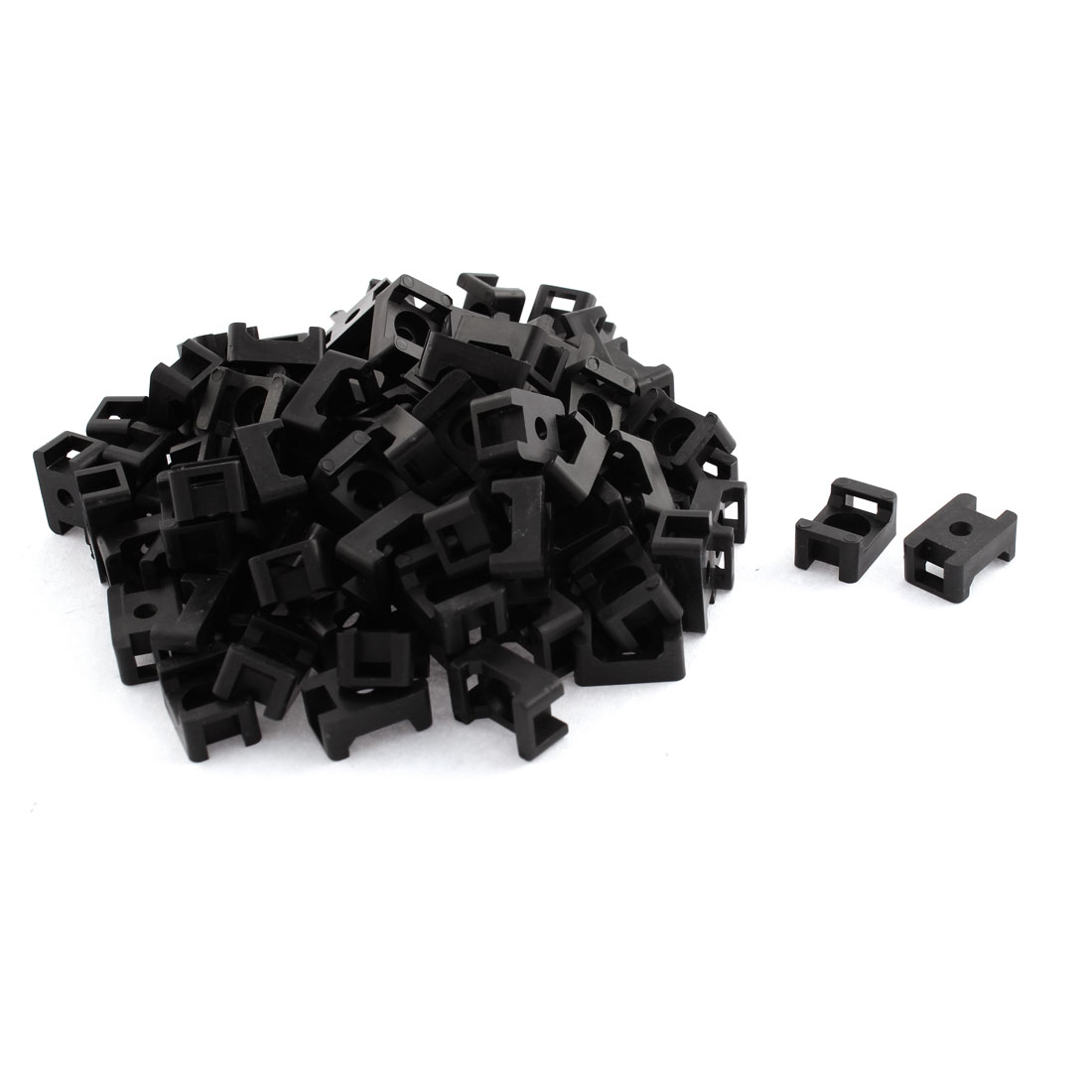 5mm Width Black Plastic Base Saddle Type Wire Holder Cable Tie Mount 100 Pcs