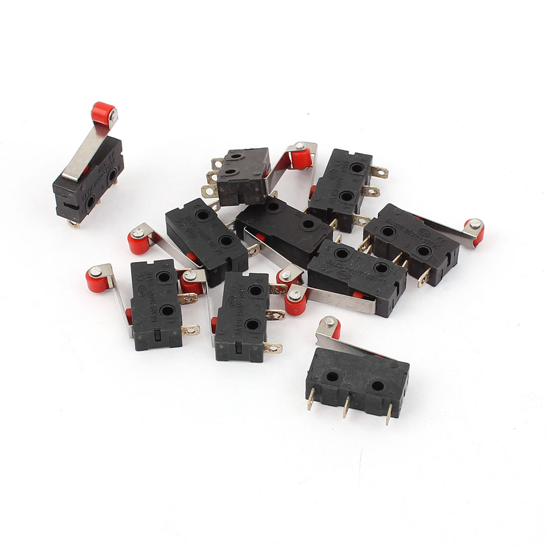 AC 5A 250V 3 Terminals SPDT Roller Arm Micro Limit Switch 10 Pcs