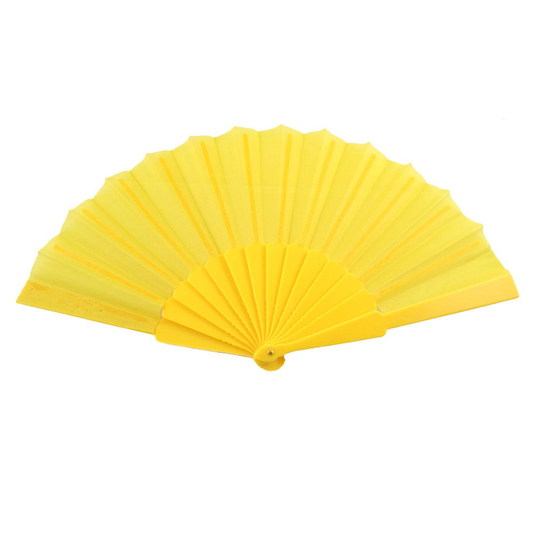 Houseware Yellow Plastic Handle Folding Summer Dancing Hand Fan