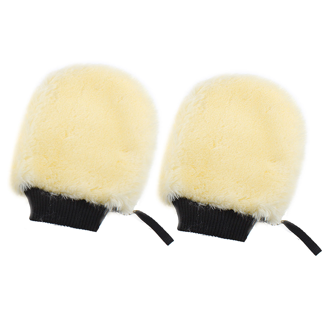 Auto Car Black Elastic Caliber Yellow Plush Cleaning Gloves Mitt Pair