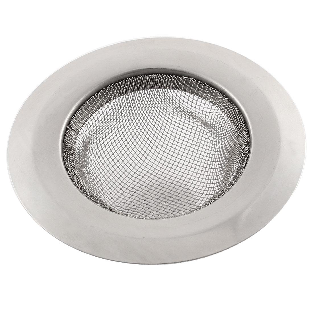 """3.5"""" Dia Kitchen Bathroom Basin Waste Filter Mesh Sink Strainer Silver Tone"""