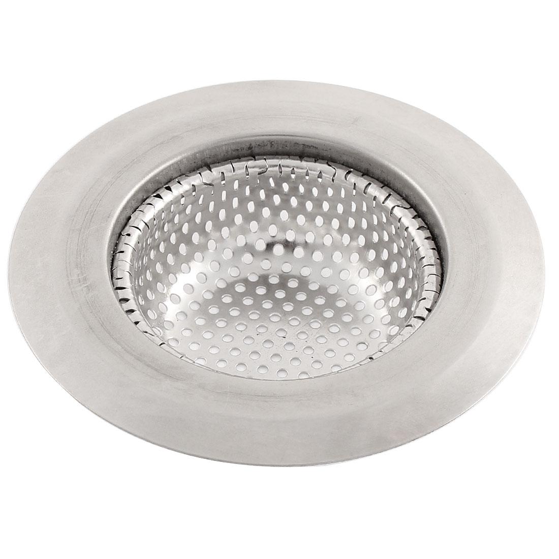 Kitchen Bathtub Waste Filter Drain Hair Blocker Basin Strainer Silver Tone