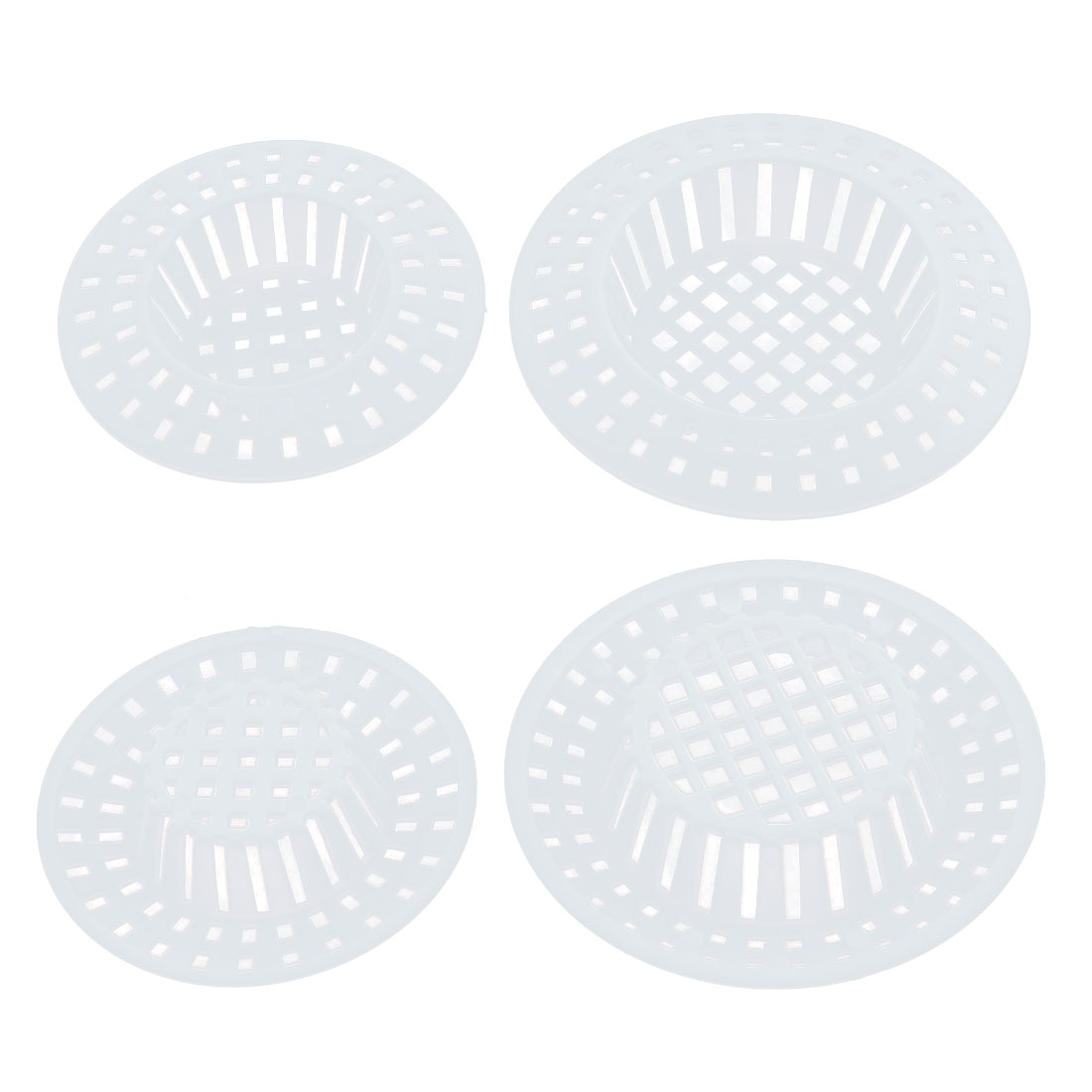Kitchen White Plastic Garbage Catcher Drain Mesh Sink Strainer 4 In 1