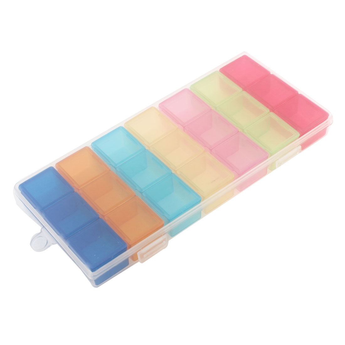 Multicolor 21 Mini Square Component 7 Day Vitamins Pill Box Container Case