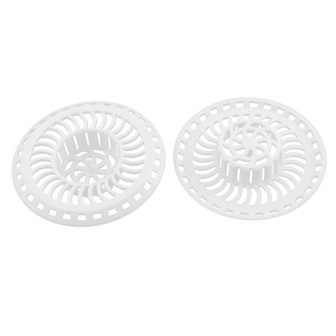 Bath Kitchen Waste Drain Sink Net Basin Strainer Filter White 2 Pcs
